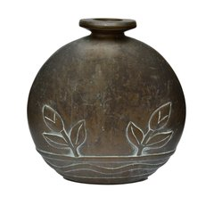 Solid Bronze Carved Vase