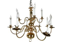 Massive Brass Chandelier w/Canopy