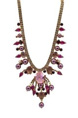 Stunning Italian Runway Necklace in violet and pink by Justin Joy