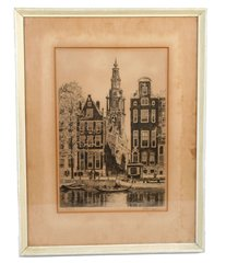 "Original Signed Etching ""Amsterdam"" by Roodenburg."