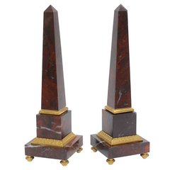 Pair of Antico Rosso Marble Obelisks