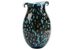 Marine Blue Vase w/ Floating Rings - Italy
