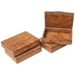 Amboyna Wood Cigarette Cases Set of 4