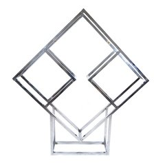 1970s Chrome Geometric Diamond Shaped Etagere