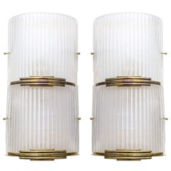 Art Deco Brass and Murano Glass Sconces