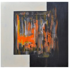 Orange Abstract Painting in Acrylic on Canvas by Yamil O Cardenas