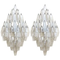 Pair of Large Polyhedral Ornament Sconces by Carlo Scarpa