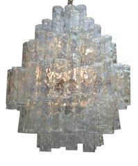 Huge 7 Tier Italian Crystal and Chrome Chandelier