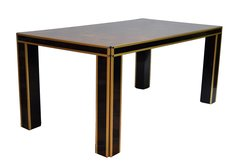 Romeo Rega Brass and Burlwood Dining Table