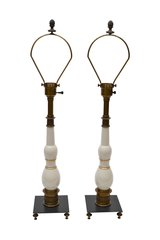 Pair of Stiffel Porcelain and Bronze Table Lamps