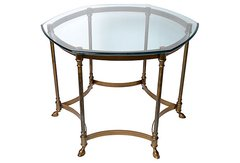 French Brass & Glass-Top Side Table.