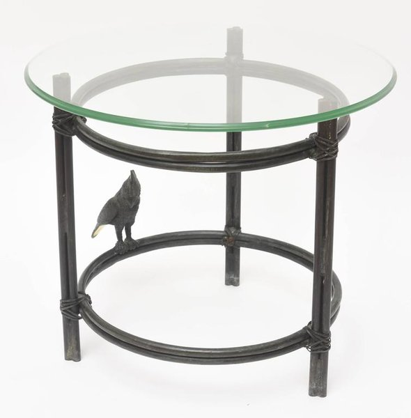 Maitland Smith Solid Bronze Round Side Table With Parrot Style Diego Giacometti