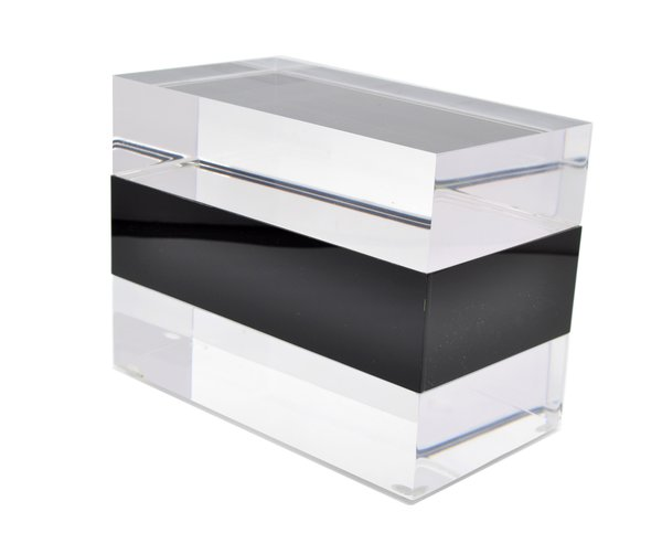 Jewelry Box in Clear Lucite w Black Center Piece Galleria d
