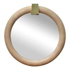 Karl Springer Attributed Shagreen Mirror with Brass Keystone