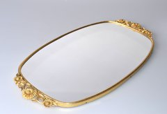 Art Deco Brass Mirrored Tray