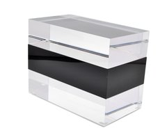 Jewelry Box in Clear Lucite w/ Black Center Piece.