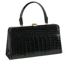 Vintage Black Alligator Handbag