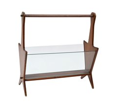 Italian Ico Parisi Mahogany and Glass Magazine Rack from the 1950s