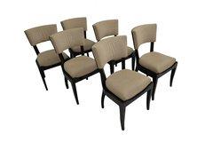 Set of Six Art Deco Dining Chairs Ebony Macassar Wood
