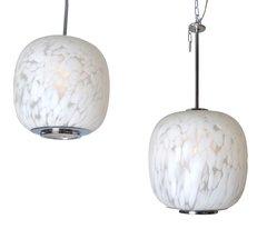 Mazzega Murano Pendant Lamps Mottled White Murano Glass, Pair