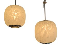 Mazzega Murano Pendant Lamps Mottled White Murano Glass, Pair
