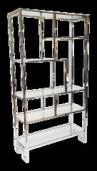 Milo Baughman Tall Greek Key Chrome Etagere / Display Shelve