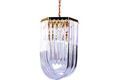 Lucite Ribbon Chandelier w/ Canopy