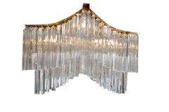 Brass and Glass Crystal Pagoda Chandelier