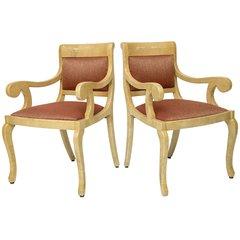 Burl-wood Goatskin Armchairs - Set of 2