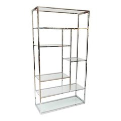 Milo Baughman style Chrome and Glass Etagere Mid-Century Modern