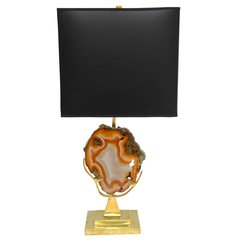 Willy Daro Brass Table Lamp with Agate