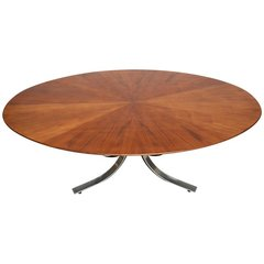 Osvaldo Borsani Walnut and Sculpted Steel Dining Table
