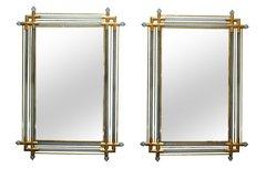 Venetian Brass and Spiral Murano Glass Wall Mirror - A Pair