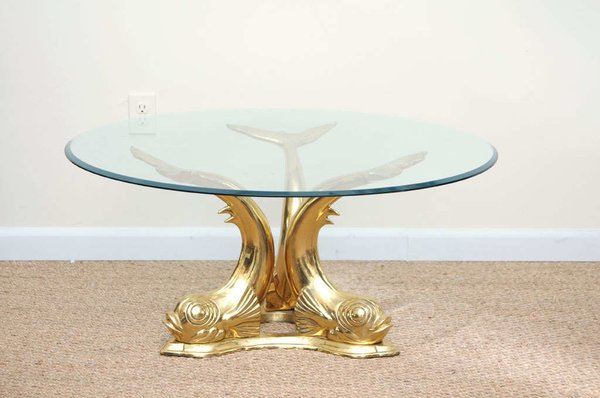 Brass Dolphin Coffee Table Galleria D 39 Epoca Vintage Designer Furniture