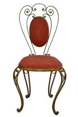 Italian Wrought Iron Vanity Chair with Pink velvet upholstery