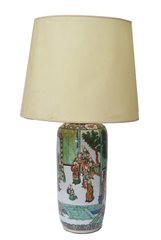 Signed Hand painted Chinese Porcelain Table Lamp with Original Shade