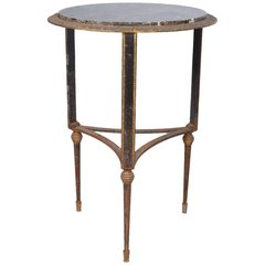 Round Art Deco Marble and Iron Side Table
