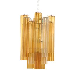 Venini Tronchi Chandelier in Amber and Clear Glass