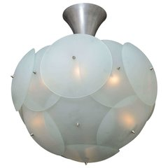 Spectecular Italian Globular Glass Chandelier by Vistosi