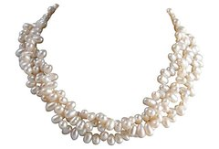 Vintage Three-Strand Faux-Pearl Necklace