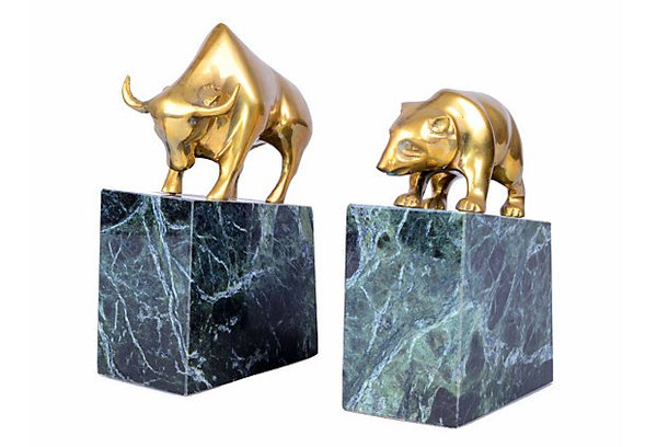 Brass Bull Amp Bear Bookends Marble Bases Galleria D Epoca