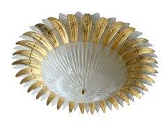 Modern Italian Murano Glass Palm Leaves Chandelier