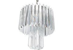 Round Chrome & Lucite 2-Tier Chandelier