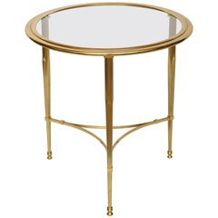 Round French Bronze Glass Top Side Table