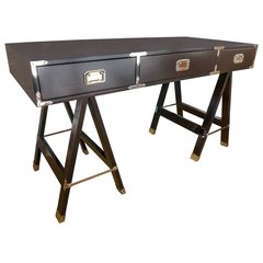 Campaign Desk in Deep Dark Brown Stain