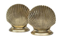 Pair of Handcrafted Brass Scallop Shell Bookends