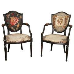 Pair of Neoclassical Elegant Wooden Armchairs