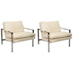 Milo Baughman for Thayer Coggin Mid-Century Modern Pair of Chrome Lounge Chairs