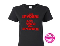 Can Am Spyder - I Like Spyders, Not Spiders - Ladies V-Neck and Crew Necks Size Black Short Sleeve Shirts