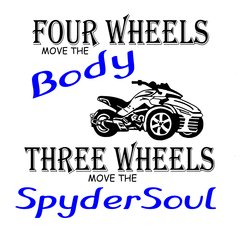 Can Am Spyder- THREE WHEELS MOVE THE SOUL - White or Grey Long and Short  Sleeve Shirts